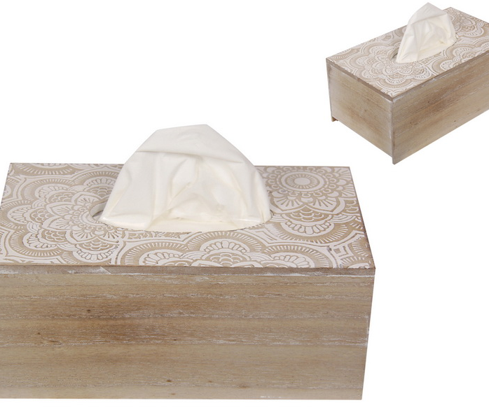 White Filigree Mandala Tissue Box