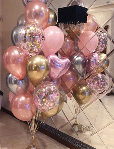 Pink Rose Gold Confetti Balloon Bouquet