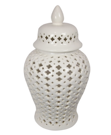 37CM WHITE MORROCAN ROUND TEMPLE JAR - LARGE (STORE PICK UP ONLY)