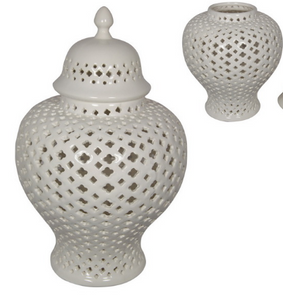 37CM WHITE ROUND MOROCCAN GINGER JAR (STORE PICK UP ONLY)