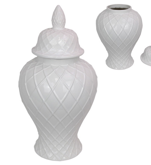 50CM WHITE LATTICE TEMPLE JAR LARGE (STORE PICK UP ONLY)