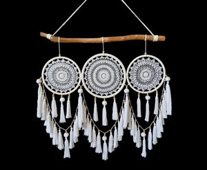 85CM Boho Driftwood Triple Macrame Dream Catcher