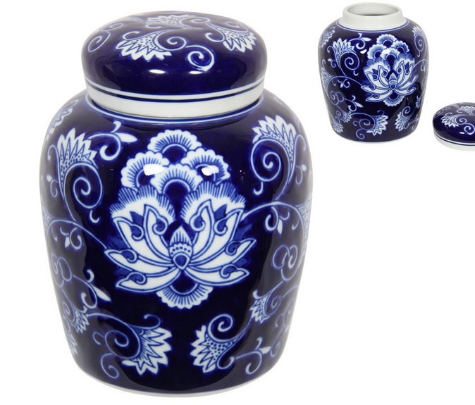 BLUE HAMPTONS STYLE GINGER JAR (STORE PICK UP ONLY)
