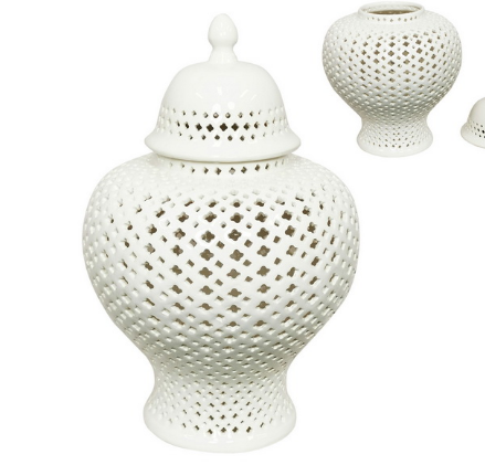 49CM WHITE FILIGREE GINGER JAR (STORE PICK UP ONLY)
