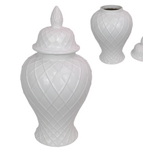 61CM WHITE LATTICE TEMPLE JAR JUMBO (STORE PICK UP ONLY)