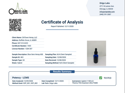 Certificate of Analysis of Blue Gem Hemp 600 milli grams Potency