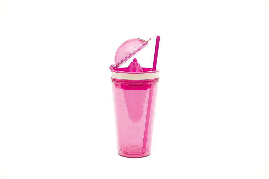 Zak!Designs On The Go Citruspers Drinkbeker - Dubbelwandig - Incl. Rietje  50 cl - Roze