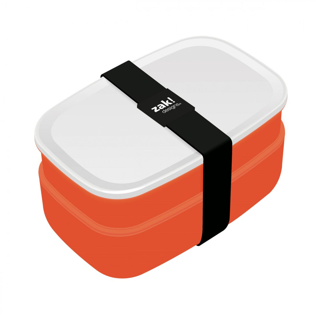 Zak!Designs Lunchbox - Incl. bestekset - Coral/Wit
