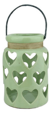 Green Heart Cut Out Candle Lantern