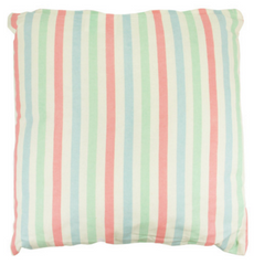 Pastel Pink Blue & Green Striped Throw Pillow