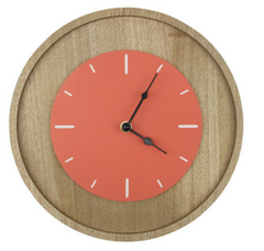Coral and Wood Analog Clock
