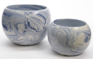 Serenity Blue and White Marbled Planters