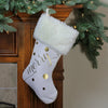 "19"" Gold Foil and Ivory Christmas Stocking with a White Cuff"