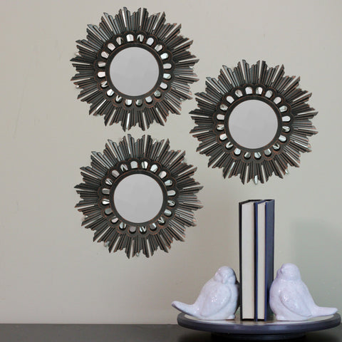 Set of 3 Floral Sunburst Bronze Round Wall Mirrors 9.5""