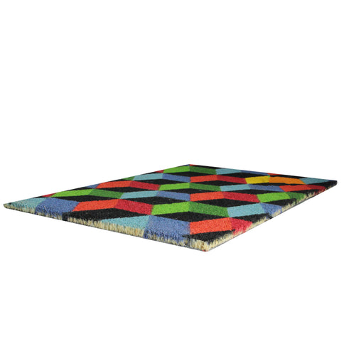 Multi-Colored 3-Dimensional Cube Design Doormat 29 x 18