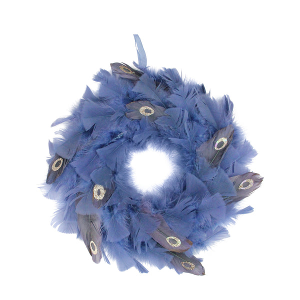 "12"" Blue and Gray Feather Artificial Christmas Wreath - Unlit"