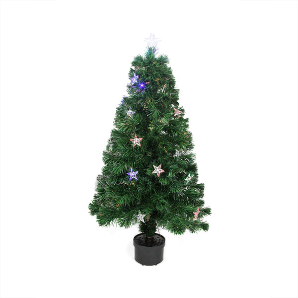 4' Pre-Lit LED Fiber Optic Artificial Christmas Tree with Stars - Multi Color Lights