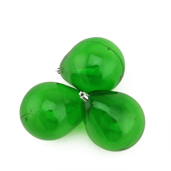 3ct Green Transparent Shatterproof Teardrop Christmas Ornaments 4.75'' (120mm)