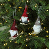 Set of 3 Red and Gray Skiing Gnome Christmas Ornaments 4""