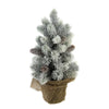 "16"" Medium Flocked Green Pine Artificial Table Top Christmas Tree with Burlap Base - Unlit"