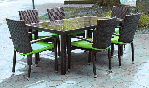 7-Piece Black and Lime Green Resin Wicker Outdoor Furniture Patio Dining Set - 70.5""