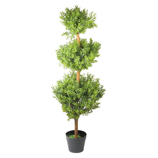 3.75' Potted Two-Tone Murraya Artificial Triple Ball Topiary Christmas Tree - Unlit