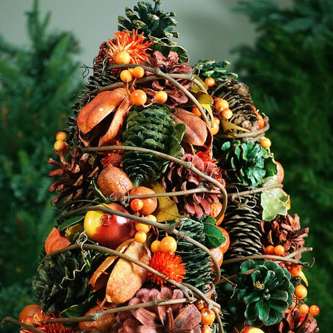 1.2' Slim Pine Cones and Fruits Artificial Thanksgiving Cone Tree - Unlit