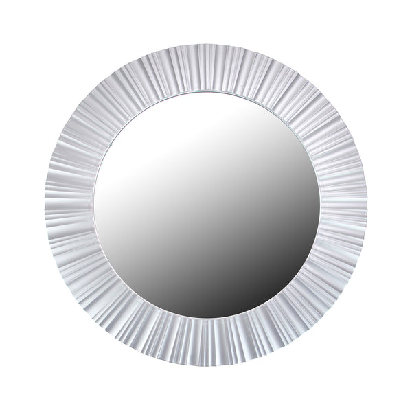 "20"" Silver Contemporary Fluted Round Mirror Wall Decor"
