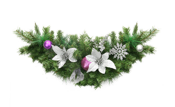 "30"" Silver and Purple Pre-Decorated Ball Ornaments and Ribbon Artificial Christmas Swag - Unlit"