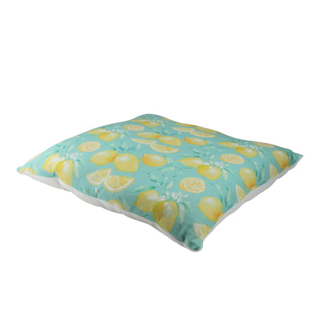 "17"" Green and Yellow Tropical Lemons Printed Throw Pillow - Polyester"