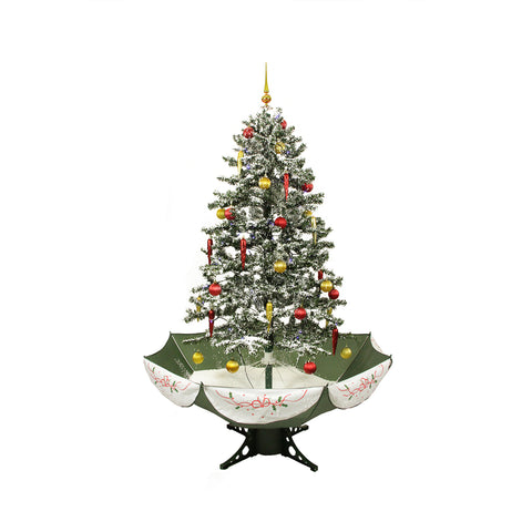 5.5' Pre-Lit Medium Musical Snowing Artificial Christmas Tree With Umbrella Base - Blue LED Lights