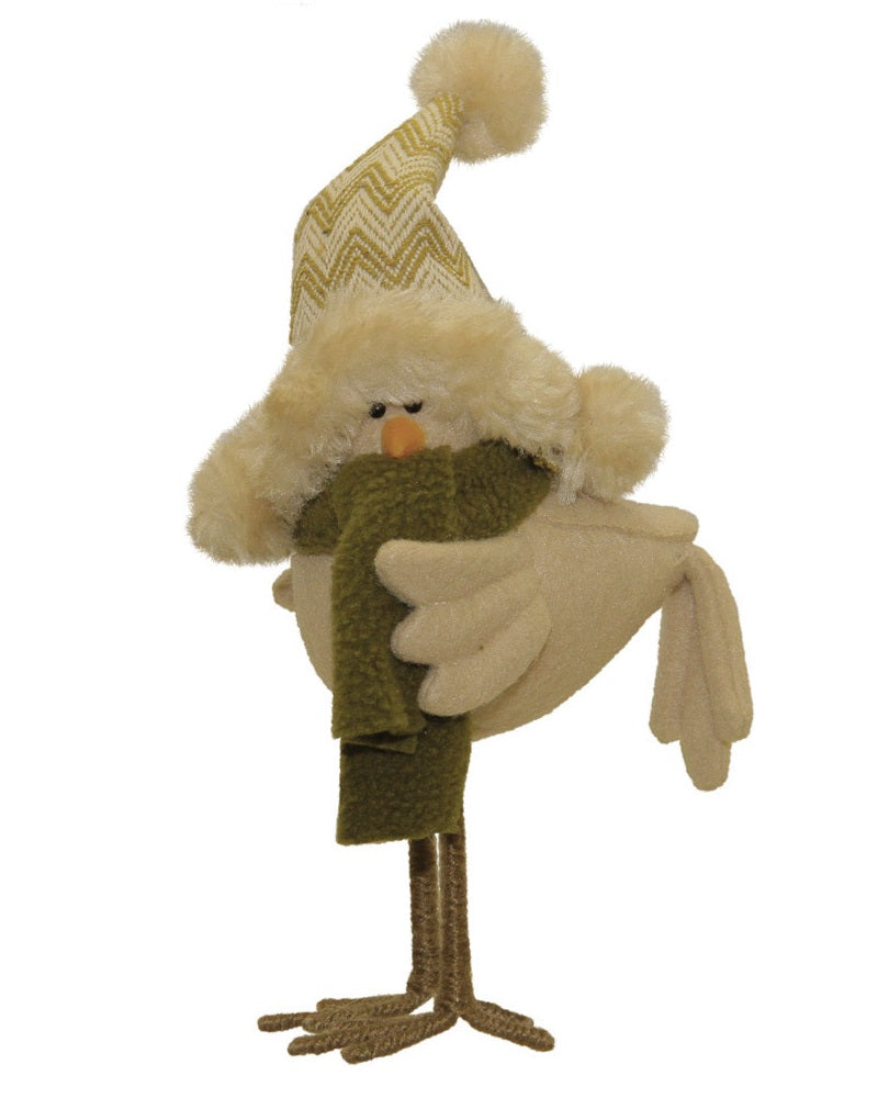 8 25 Beige And Brown Standing Bird With Hat Christmas Tabletop Decor Northlight Seasonal