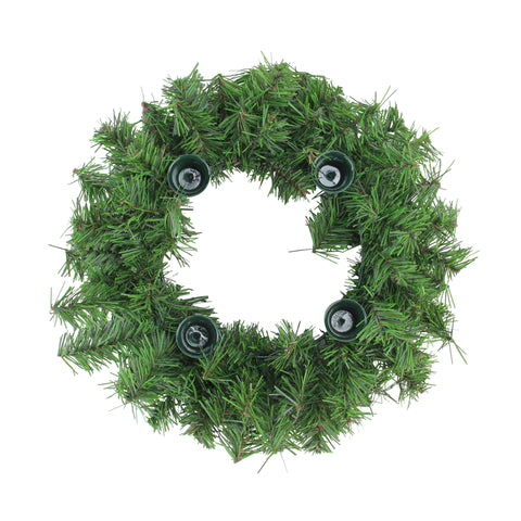 "12"" Two-Tone Pine Artificial Christmas Advent Wreath - Holds 4 Taper Candles"