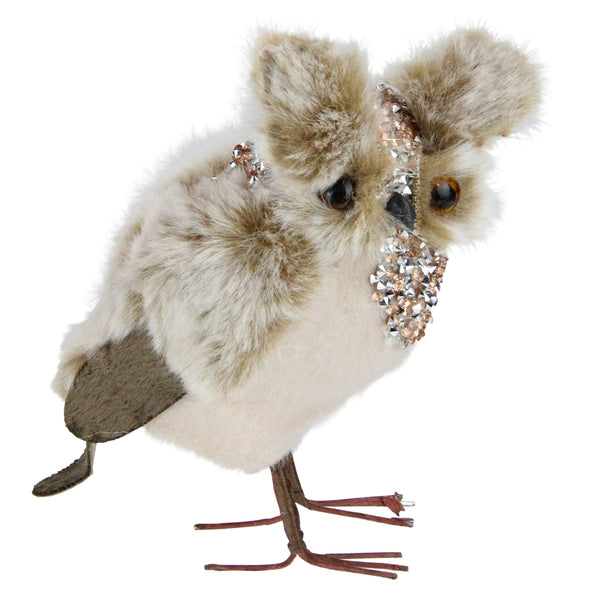 "5.25"" Champagne Brown and White Standing Owl Christmas Figurine"