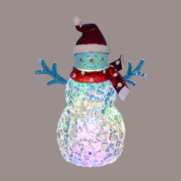 "8.5"" Battery Operated LED Lighted Snowman with Scarf and Santa Hat"
