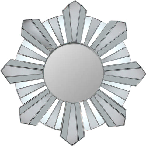 "25"" Silver Sunburst Wave Glass Matte Round Wall Mirror"