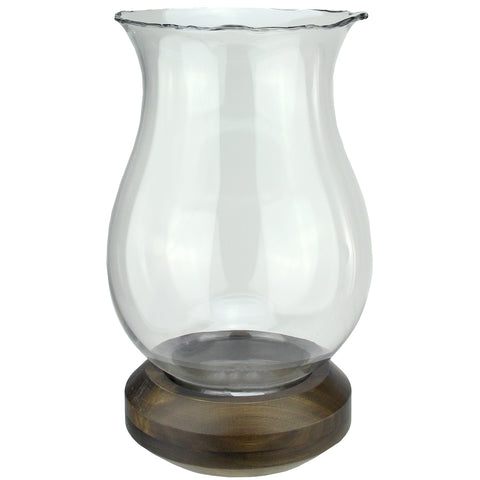 "17"" Wavy Edged Clear Glass Hurricane Pillar Candle Holder with Wooden Base"