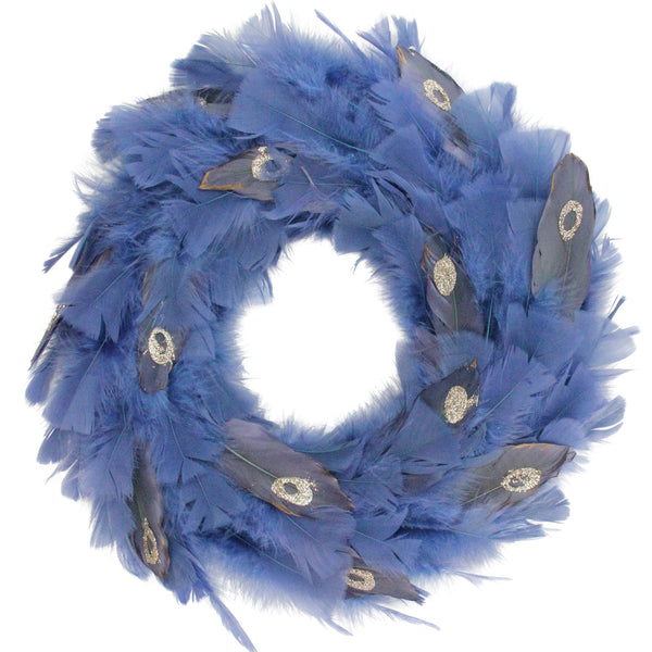 Blue and Gray Feather Artificial Christmas Wreath - 14-Inch, Unlit