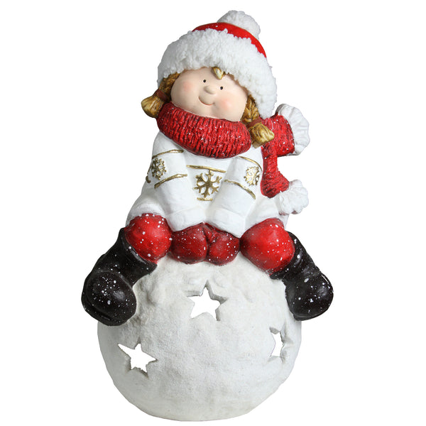 "19.25"" Red and White Girl on a Snowball Christmas Tealight Candle Holder"