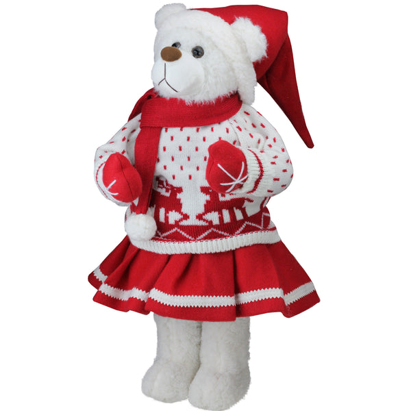 "20"" White and Red Winter Girl Santa Bear in Deer Sweater Christmas Figure Decoration"