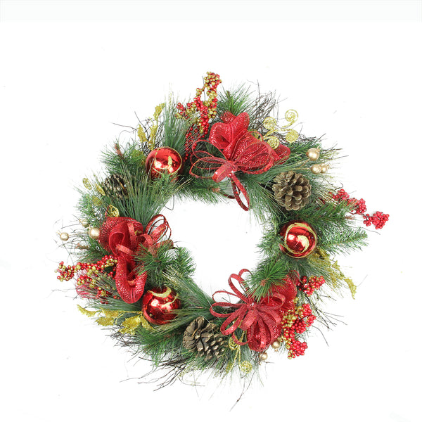 Berry and Ornaments Embellished Artificial Christmas Wreath - 26-Inch, Unlit