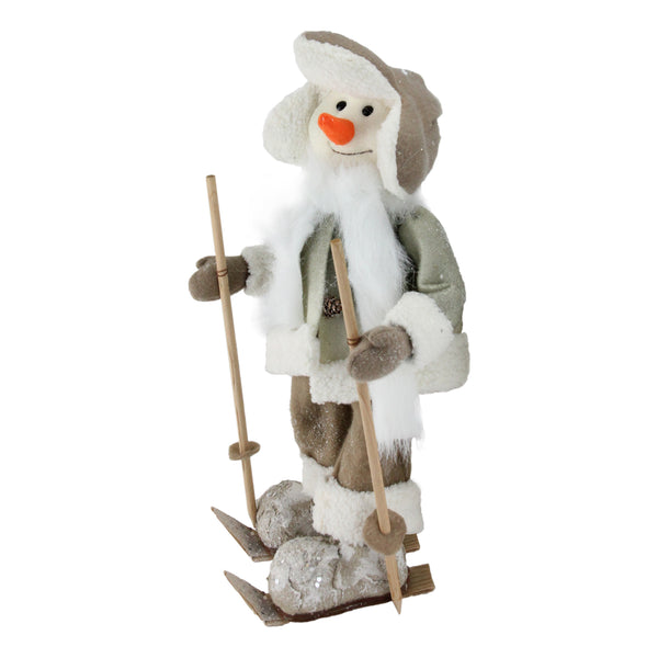 "16"" White and Brown Snow Skiing Snowman Christmas Tabletop Figurine"