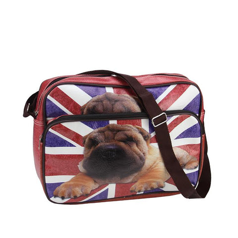 "15"" Decorative British Flag and Pug Crossbody Bag/Purse with Strap"