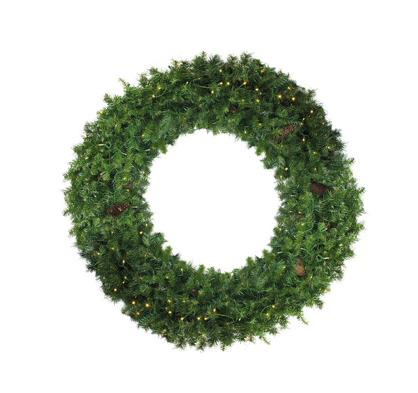Pre-Lit Dakota Red Pine Commercial Artificial Christmas Wreath - 6-Foot, Clear Dura Lights