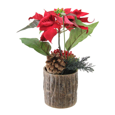 "10"" Artificial Poinsettia with Pine Cone and Berries Decorative Potted Plant"