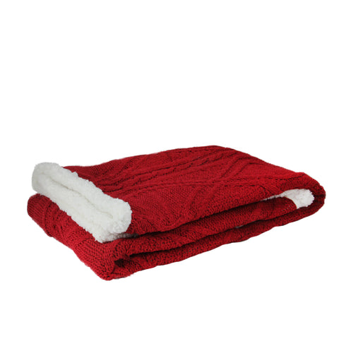 "Red and White Cable Knit Plush Sherpa Throw Blanket 50"" x 60"""