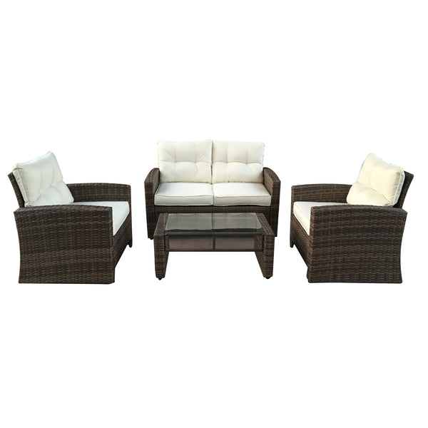 4pc Brown and Beige Two-Tone Rattan Outdoor Patio Furniture Set with Cushions 50""