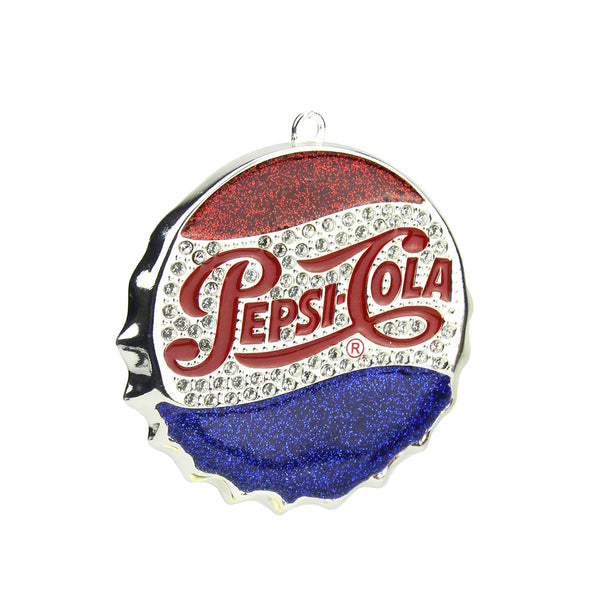 "3"" Blue and Red ""PEPSI COLA"" Bottle Cap Logo Christmas Ornament"