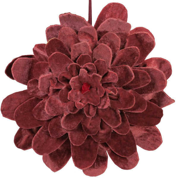 "9.5"" Mahogany Red Velvet Flower Christmas Ornament"