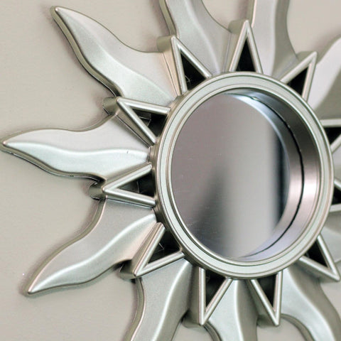 Set of 3 Mayan Sunburst Matte Silver Round Mirrors 9.5""